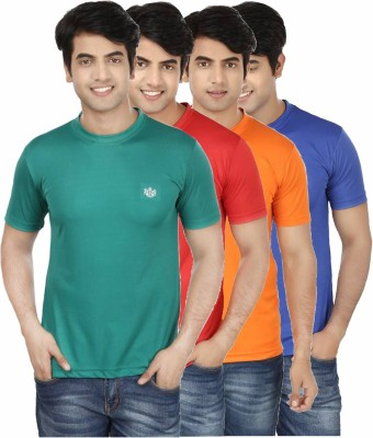 French Circle Solid Men's Round Neck Green, Red, Orange, Blue T-Shirt(Pack of 4)