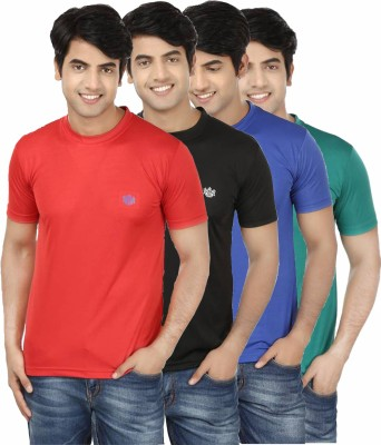 French Circle Solid Men's Round Neck Red, Black, Blue, Green T-Shirt(Pack of 4)