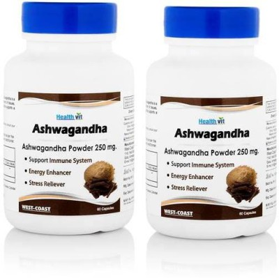 Healthvit Ashwagandha Powder 250 mg Supplements (60 Capsules, Pack of 2)