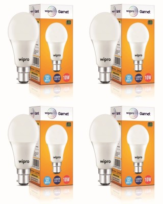 Wipro 10 W Arbitrary B22 LED Bulb  (White, Pack of 4)