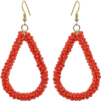 The Indian Handicraft Store Tear drop Brown Beads Earring Alloy Drop Earring