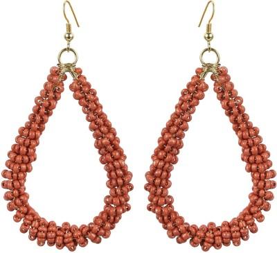 The Indian Handicraft Store Tear drop Red Beads Earring Alloy Drop Earring