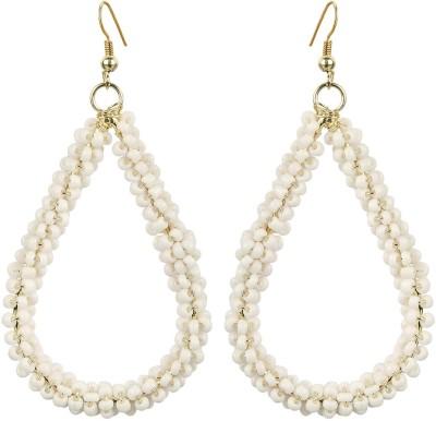 The Indian Handicraft Store Tear drop White Beads Earring Alloy Drop Earring