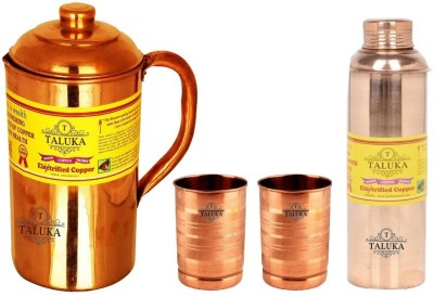 Taluka Plain Copper Jug Pitcher 1500 ml with 6 Copper Glass Cup 2 Bisleri Design Water Bottle Storage Drinking | Home Hotel Restaurant Tableware Water Jug Set(2900 L, Pack of 4) at flipkart