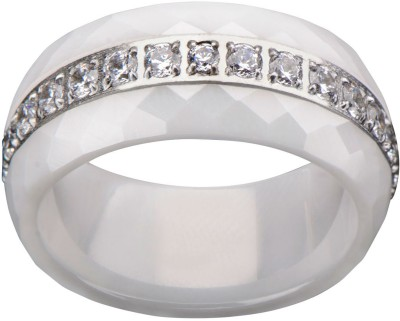 Inox Jewelry Ceramic Prism Patterned Eternity CZ Band Stainless Steel, Ceramic Cubic Zirconia Ring