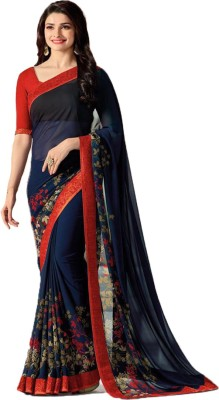Bombey Velvat Fab Floral Print, Self Design, Embellished, Applique, Paisley, Graphic Print, Geometric Print, Checkered, Solid, Striped Daily Wear Georgette, Chiffon Saree(Blue)