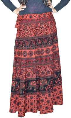 SUNRISE PARIDHAN Printed Women Wrap Around Red, Black Skirt