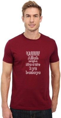 Redfool Fashions Graphic Print Men's Round Neck Maroon T-Shirt