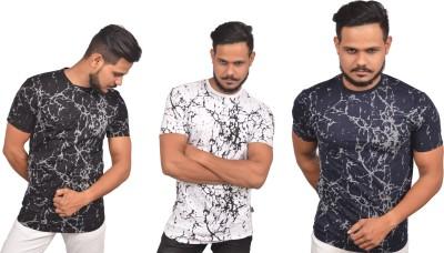 Roden Printed Men's Round Neck Black, Blue, White T-Shirt(Pack of 3)