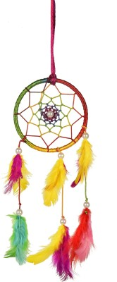ILU Dreamcatcher Hanging Wind Chimes Handmade Beaded Circular Net Decoration Ornament Size 8 CM Diameter Wool Windchime(8 inch, Multicolor)  available at flipkart for Rs.180