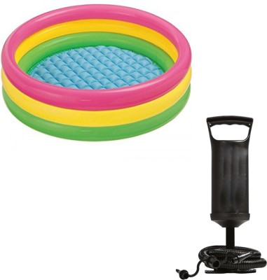 Speoma 3ft Inflatable Bath tub and Air pump for inflatable toys Inflatable Swimming Pool(Multicolor)
