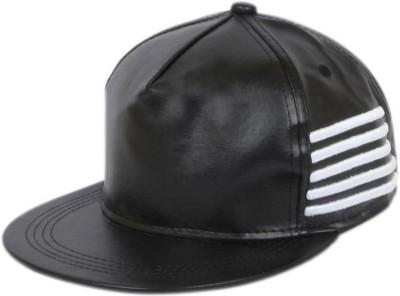 Saifpro Stylish Black Leather Side Line Hip Hop Snapback Cap