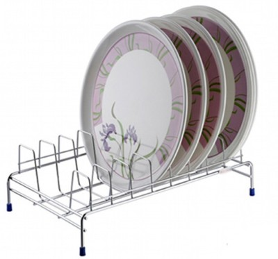 SARANGWARE Thali Stand / Plate Stand / Dish Stand Stainless Steel Kitchen Rack(Silver)