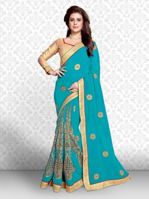 Divastri Embroidered Fashion Georgette Saree(Blue, Gold) Flipkart