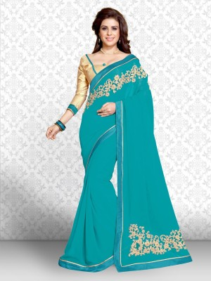 Divastri Embroidered Fashion Georgette Saree(Blue) Flipkart