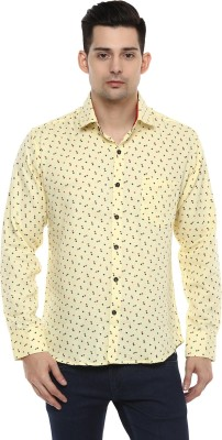 LOBSTER Men's Printed Casual Yellow Shirt
