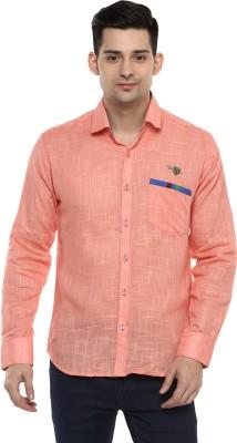 LOBSTER Men's Solid Casual Orange Shirt