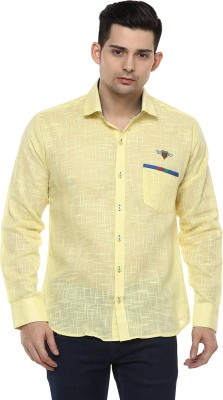 LOBSTER Men's Solid Casual Yellow Shirt
