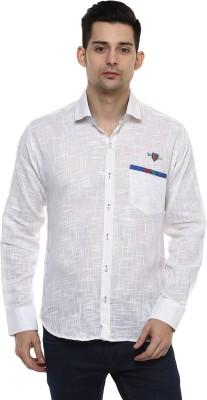 LOBSTER Men's Solid Casual Mandarin Shirt