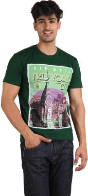 Jazzy Vogue Graphic Print Men's Round Neck Dark Green T-Shirt