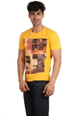 Jazzy Vogue Graphic Print Men's Round Neck Yellow T-Shirt