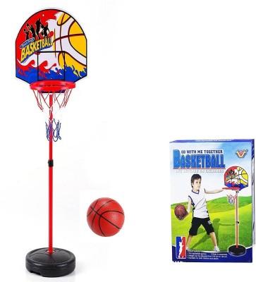 Sanyal 145 CM Adjustable Height Basketball Kids Sports Portable Ball Hoop Toy Kit with Stand & Net Basketball