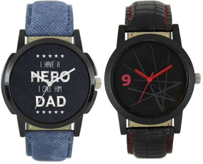 MAPA STYLE Attractive Stylish Lorem Genium Blue & Black Leather Strap 2 Combo Boys & Mens Analog Watch MPSTYLE 077 Watch  - For Men