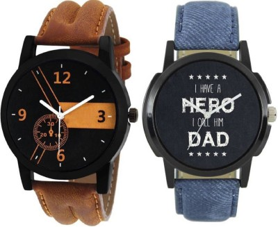 MAPA STYLE Attractive Stylish Lorem Genium Brown & Blue Leather Strap 2 Combo Boys & Mens Analog Watch MPSTYLE 075 Hybrid Watch  - For Men