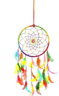 ILU Dreamcatcher Hanging Wind Chimes Handmade Beaded Circular Net Decoration Ornament Size 16 CM Diameter Wool Windchime(16 inch, Multicolor)  available at flipkart for Rs.199