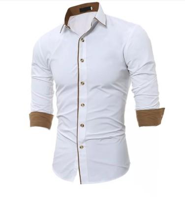 N T FASHION Men Solid Casual White Shirt
