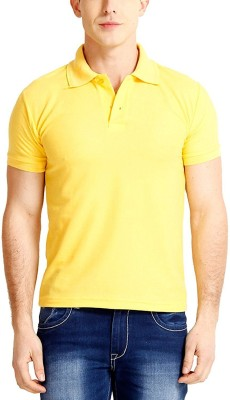 TNX Solid Men's Polo Neck Yellow T-Shirt