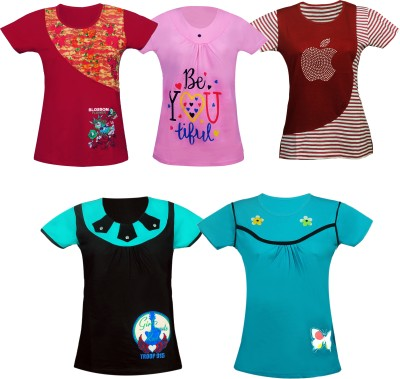 Fashionate World Girls Cotton Top(Multicolor, Pack of 5)