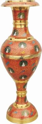 Brass Gift Center Flower pot with ahdnwork Brass Vase(18.8 inch, Red)  available at flipkart for Rs.10499