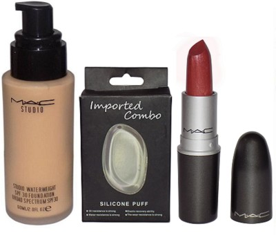 Imported Combo Silicon Puff With Mac Matchmaster Studio Waterweight Foundation & Matte Maroon Lipstick(Set of 3)  available at flipkart for Rs.1299