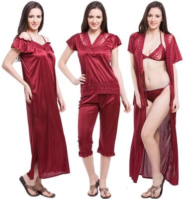 Austin-w Women Nighty with Robe, Top and Capri(Maroon)