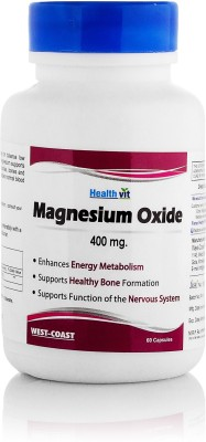 Healthvit Magnesium Oxide 400 mg Supplement (60 Capsules) - Pack Of 2