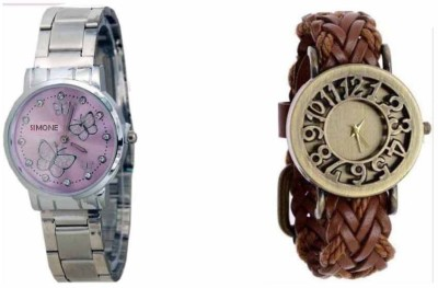 SIMONE STYLIST SOOMS PINK SILVER AND BROWN CULTURE LEATHER WATCH FOR WOMAN Watch  - For Girls