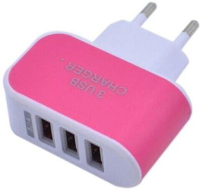 Raptas 3 Ports USB Universal Travel Wall Charging Adapter 3.1 A Multiport Mobile Charger with Detachable Cable Pink