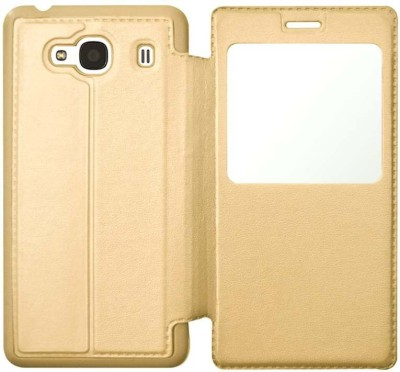 COVERNEW Flip Cover for Mi Redmi 2 Prime Gold COVERNEW Plain Cases   Covers