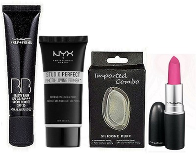 imported combo Mac Prep+Prime BB SPF 35 Creme&Silicon Puff&NYX studio Primer&Light Pink Shade Lipstick(Set of 4)  available at flipkart for Rs.1599