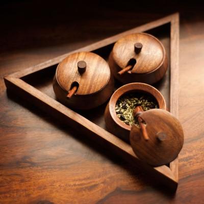 Exclusivelane Handcrafted Sheesham Wood Refresher Jar Cum 10 Piece Condiment Setwooden