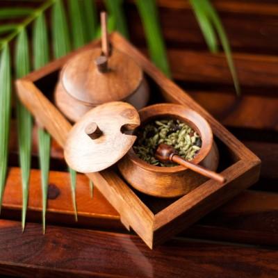 Exclusivelane Handcrafted Sheesham Wood Pickel Chutney Jar Cum 7 Piece Condiment Setwooden