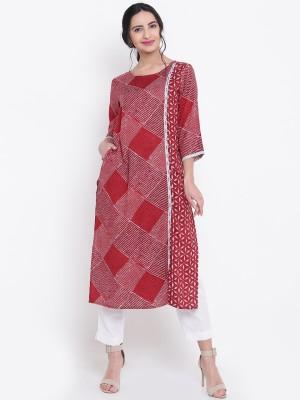 Shree Women Geometric Print Straight Kurta(Maroon)
