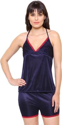 Klamotten Women Solid Black Top & Pyjama Set