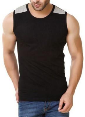 ZESTEEZ Solid Men's Round Neck Black T-Shirt