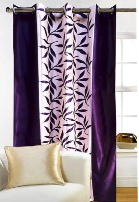G S COLLECTIONS Polyester Door Curtain 212 cm Single Curtain(Floral Kolavery Purple/Violet Printed Floral Color)  available at flipkart for Rs.191