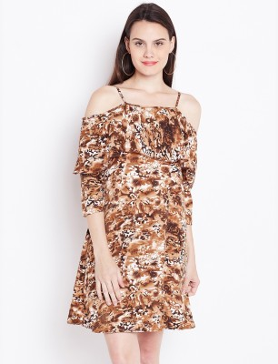 U F Women A line White, Brown Dress
