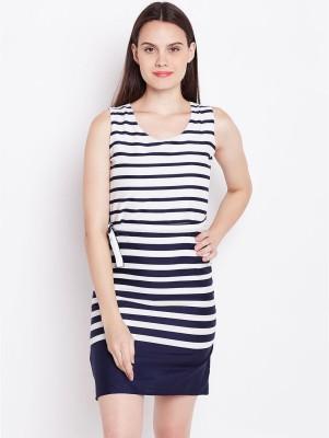 U F Women Fit and Flare Dark Blue, White Dress