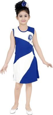 nukids Girls Midi/Knee Length Casual Dress(Blue, Sleeveless)