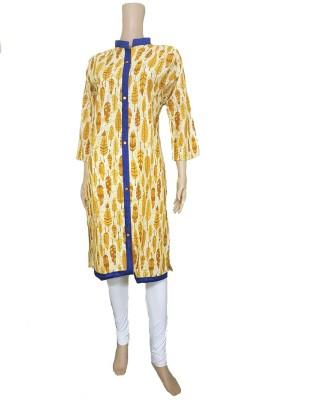 nazya creations Printed Women Straight Kurta(Yellow)